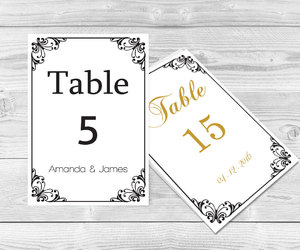 etsy, wedding table number, and table card template image