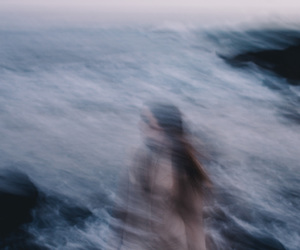girl, ocean, and blur image