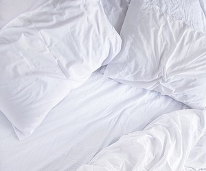 bed, white, and photography image