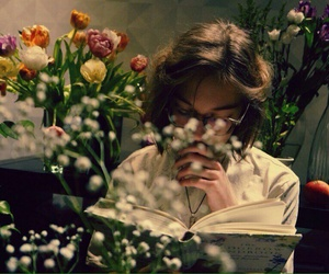 flowers, girl, and book image