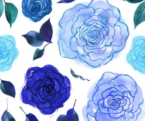 wallpaper, blue, and flowers image