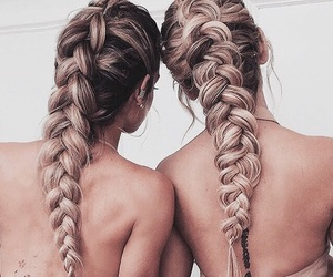 braids, girls, and rose gold image