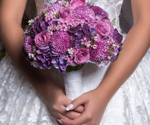bride, flower, and wedding image