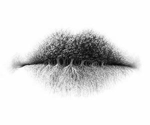 lips, art, and tree image