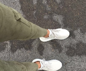 green, jeans, and white image