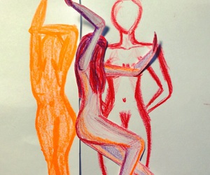 drawing, fire, and woman image