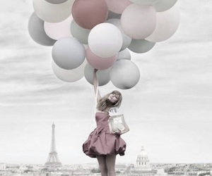 balloons, dress, and holding image