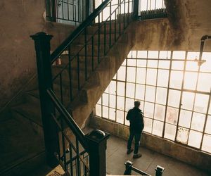 boy, stairs, and window image