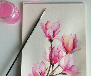 art, flower, and magnolia image