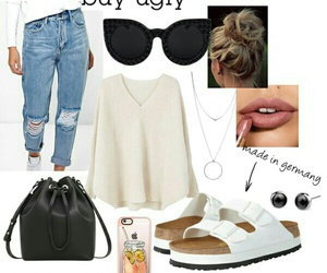 boyfriend jeans, Polyvore, and sandals image