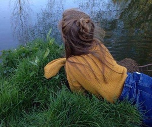 girl, grass, and hair image