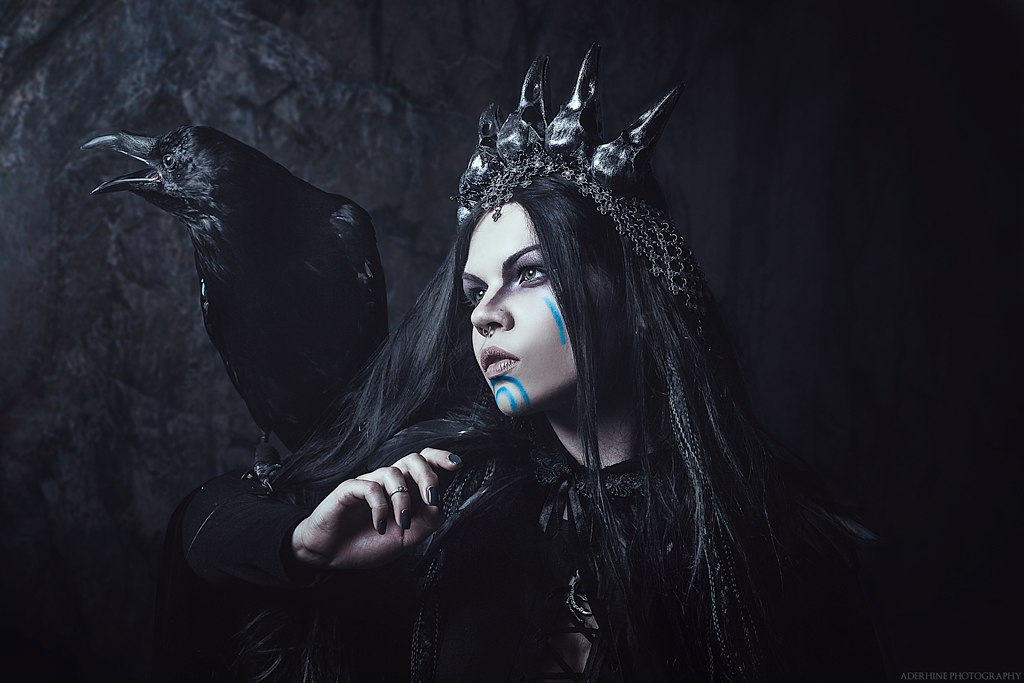 crow, witchcraft, and dark image