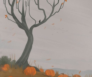 autumn, pumpkin, and tree image