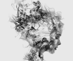 art, black and white, and smoke image