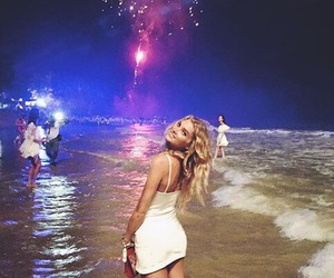 beach, fireworks, and blonde image