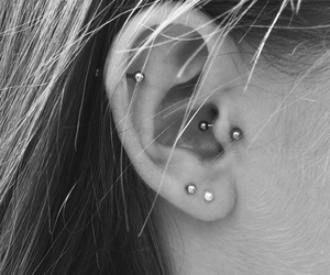 ear, girl, and pierced image