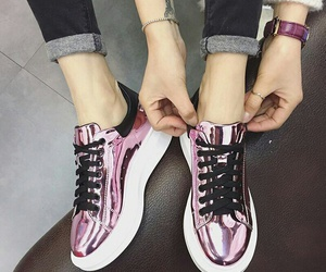 metallic, shoes, and pink image