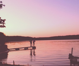 lake, lonely, and pink image