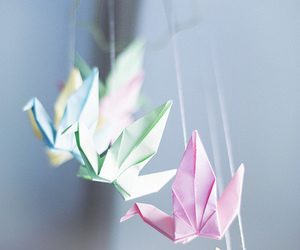 origami, crane, and pink image