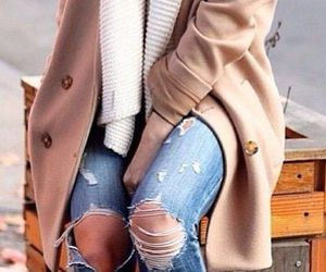 fall, jacket, and jeans image