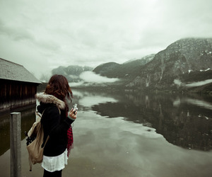 girl, snow, and water image