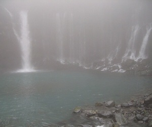 fog, nature, and waterfall image