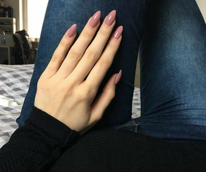 jeans, dirty pink, and nails image