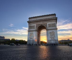 arc de triomphe, clouds, and landmark image