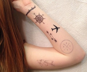 compass, tattoo, and plane image