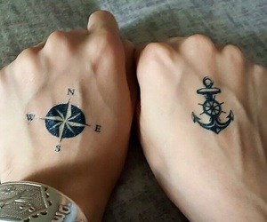 anchor, compass, and tattoo image