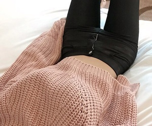 fashion, leather, and sweater image