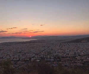 Athens, city, and sunset image