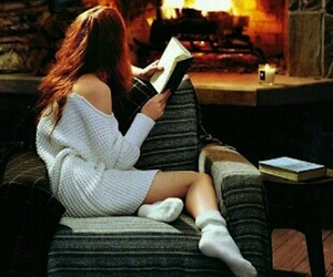 girl, books, and fire image