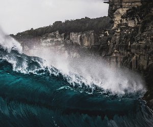 waves, nature, and ocean image