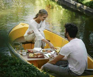 boat, couple, and picnic image