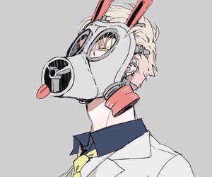 noiz, gas mask, and anime boy image