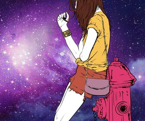 background, girl, and galaxy image
