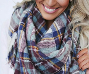 blonde hair, fall, and scarf image