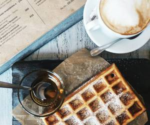 breakfast, coffee, and waffles image