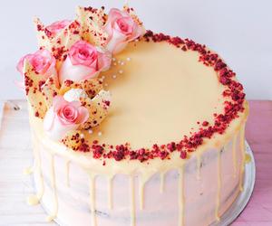 cake, raspberry, and white chocolate image