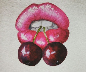 cherry, lips, and paint image
