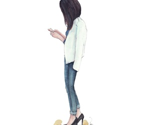 brunette, fashion illustration, and fashion week image
