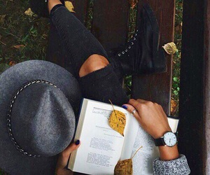 autumn, book, and fashion image