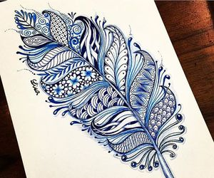 feather, blue, and drawing image