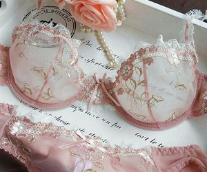 pink, lingerie, and bra image