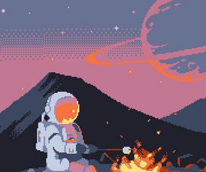 pixel, astronaut, and space image