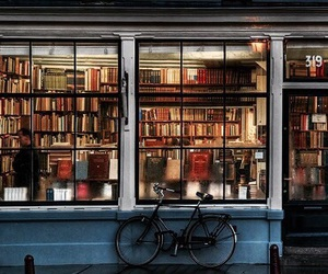 book, bookstore, and bicycle image