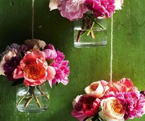 flowers, pink, and green image