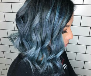 Bleu, cheveux, and coiffure image