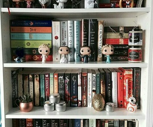 books, bookshelf, and game of thrones image